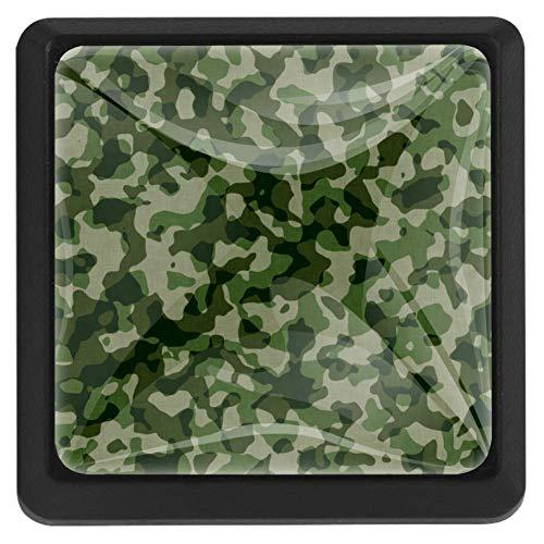 EZIOLY Militär-Knöpfe, quadratisch, für Küchenschränke, Schränke, Kommode, Schrankknöpfe, Schubladen, 3 Stück