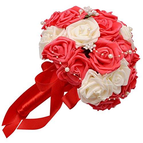 hlhn colorfulcrystal rosas perlas boda ramo novia flores de seda Artificial para la decoración de oficina hogar escritorio mesas de jardín fiesta