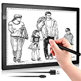 A4 LED Light Pad, Colorsmoon Ultra-Thin USB Powered Trace Board, Dimmable Brightness Tracing Light Box for Artist Drawing, Sketching, Animation, Stenciling, Diamond Painting