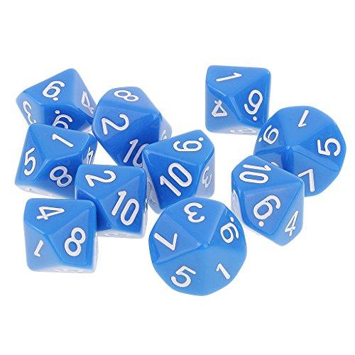 Baoblaze 10pcs Jeux de Dés Polyédriques Dice D10 Jouet Education pour Jeux de Rôles KTV Club - Bleu