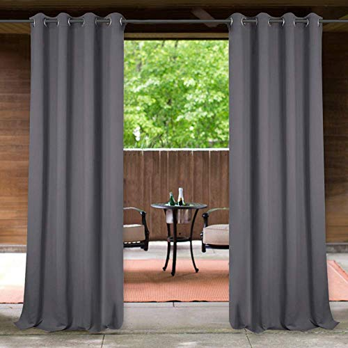 StangH Outdoor Curtains for Patio Waterproof Outdoor Patio Curtains, Grommet Top Blackout Thermal Insulated Outdoor Drapes for Deck / Gazebo, Grey, 1 Panel, Wide 52 x Long 84 inches