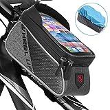 Qomolo Fahrrad Rahmentasche Wasserdicht Farhrradlenkertasche Fahrrad Handytasche mit Hochempfindlicher Touchscreen, Innerhalb mit Kopfhörerloch, für Smartphones unter 6 Zoll