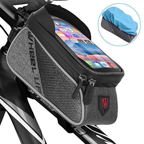 Qomolo Bolsa de Bicicleta, Bolsas Impermeable para Bicicleta de Montaña con Pantalla Táctil y Visera, Bolso del Marco de la Bici para Teléfonos Móviles de Menos 6 Pulgadas (con Cubierta de Lluvia)