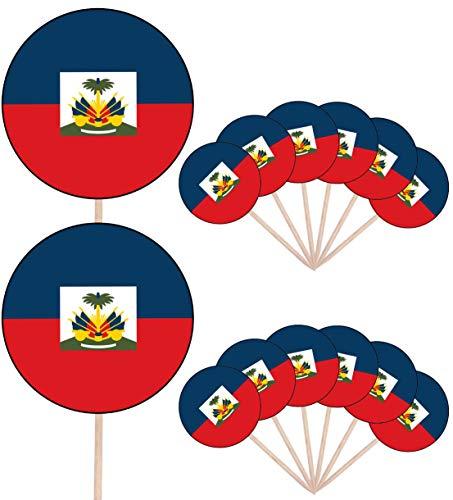 Haïti Vlag Feest Voedsel Cake Cupcakes Picks Sticks Vlaggen Opstaan Decoraties Toppers (Pak van 14)