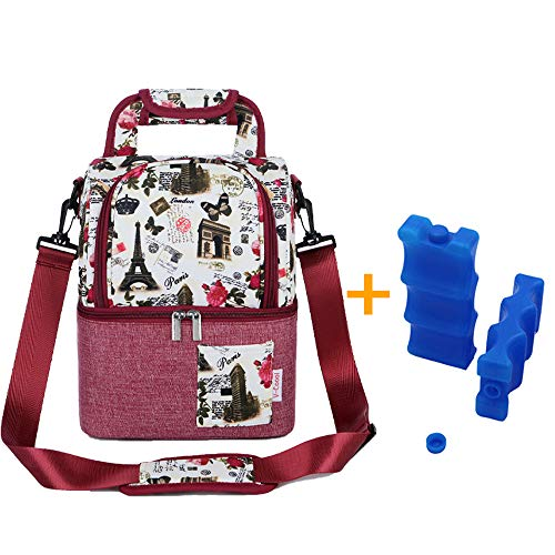 Rufun Geïsoleerde tas voor Borstmelk Lunch Koeler Warming Rugzak Waterdicht, 2 Ice Packs Inbegrepen Eiffeltoren