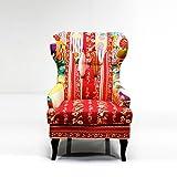Design OHRENSESSEL Patchwork   bunt, 110x82x72 cm (HxBxT), mit Armlehnen   gemütlicher Lesesessel, Fernsehsessel, Polstersessel, Lounge Sessel