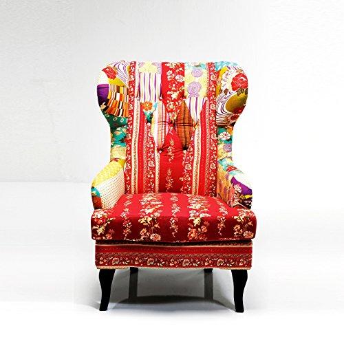 Design OHRENSESSEL Patchwork Sessel Lesesessel mit Armlehnen bunt