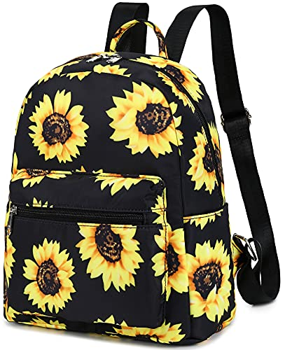 Mini Backpack Girls Cute Small Backpack Purse for Women Teens Kids School Travel Shoulder Purse Bag (Black Sunflower)