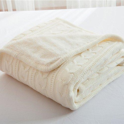 RAIN QUEEN Decke Kuscheldecke Doppelseitige Mikrofaserdecke Strickdecke kuschelig flauschig (120 * 180cm, Weiß)