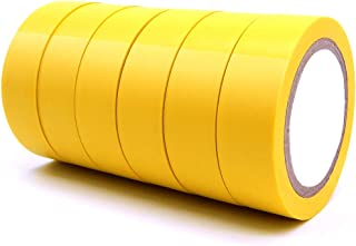 6 Pack Electrical Insulation Tape - Maveek 0.67inch x 29.5ft PVC Waterproof, Flame Retardant, UL Listed, Strong Rubber Based Adhesive Gaffer Tapes(Yellow)