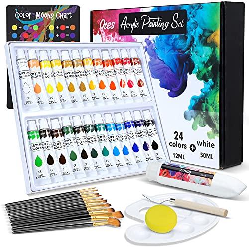 Otes Peinture Acrylique, Peinture Gouache en Tube 24 Couleur Set, additionnel 50ml Couleurs blanches, pour Débutant ou Professionnel