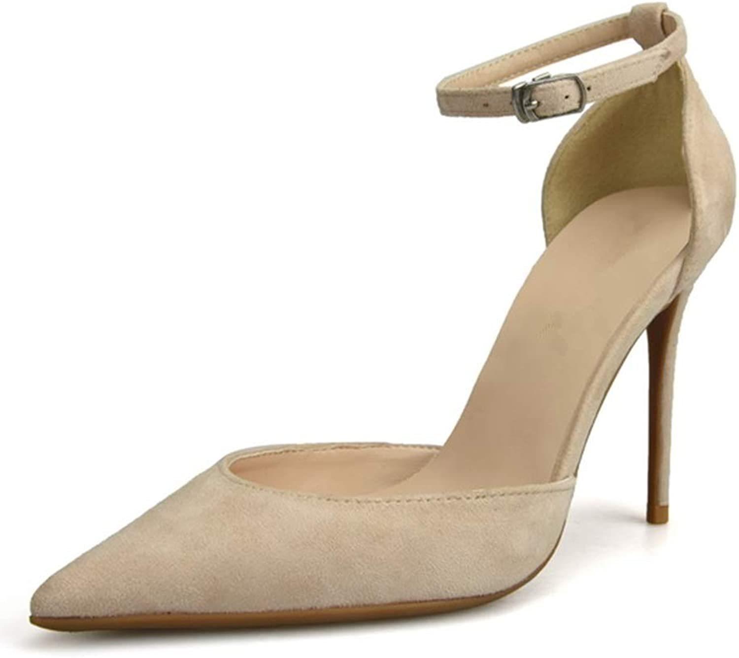 Lindarry Ankle Strap Sandals for Women Stiletto High Heeled Pumps for Ladies Pointed Side Cut Out Faux Suede Fashion (color   Nude, Size   11 M US)
