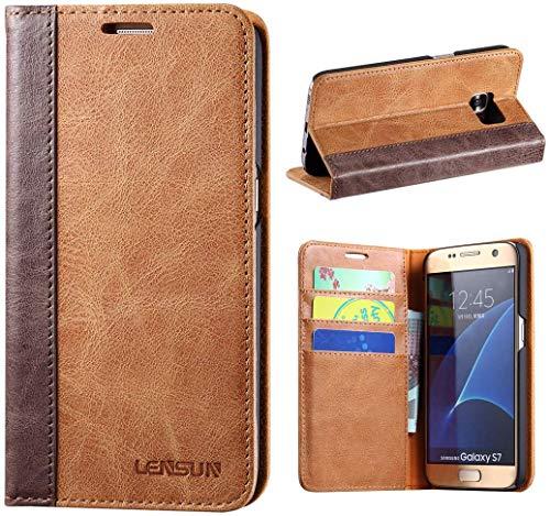 LENSUN Echtleder Hülle für Samsung Galaxy S7, Leder Handyhülle Handytasche kompatibel mit Samsung Galaxy S7(5,1 Zoll) – Braun (S7-FG-BN)
