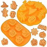 LOVEXIU Moldes Halloween Silicona 2pcs, Moldes de Silicona para Decoración de Pasteles, Halloween Silicona Fondant Molde Baking Torta Moldes, Moldes Muffins para Halloween, Chocolatinas, Pastel