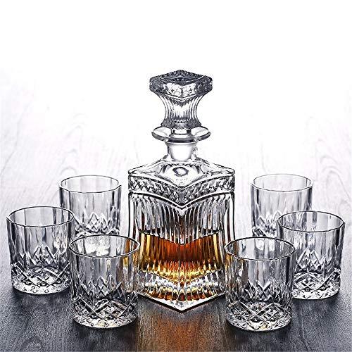 JIASHU Decantador Sofisticado sin Plomo de Vidrio de Whisky con Hermoso tapón...