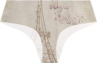Women's Seamless Underwear,Bonjour Paris Eiffel Tower Bike Vintage Panties Bikini Microfiber Low Rise Brief