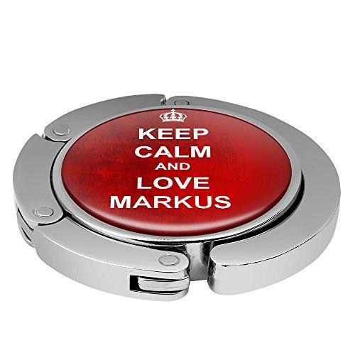 Taschenhalter Keep Calm Personalisiert mit Namen Markus printplanet Chrom