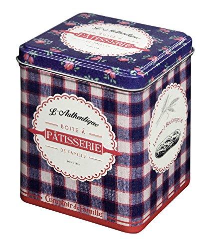 Comptoir de Famille 155310 Boîte à Sachets Pâtisserie, Métal, Bleu, 0 cm