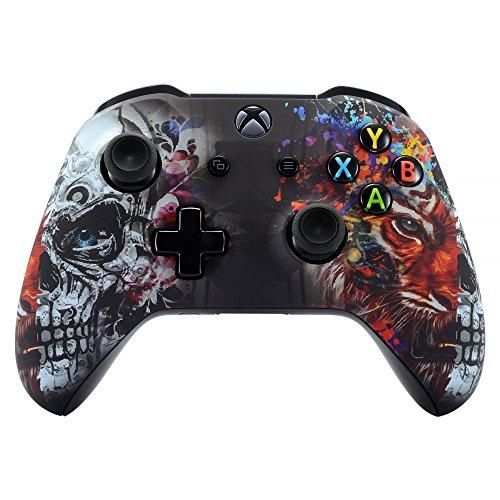 eXtremeRate Case für Xbox One S/X Controller,Hülle Gehäuse Case Schutzhülle Cover Oberschale Skin Housing Kit Schale Shell für Xbox One S/Xbox One X Controller(Tiger&Totenkopf)