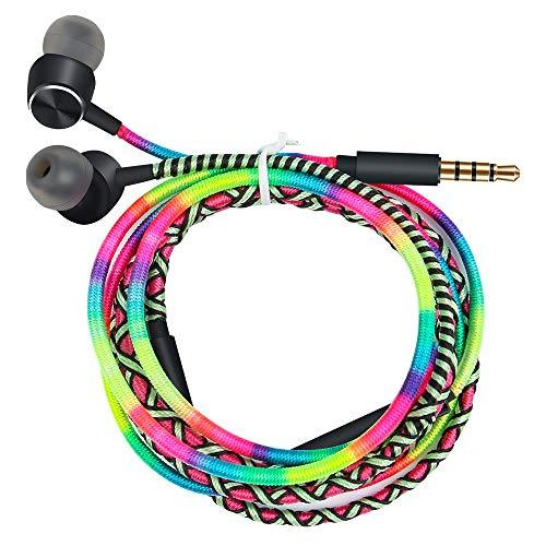 URIZONS Auriculares en el oído con micrófono y Control Remoto para iPhone iPad iPod Mac tabletas portátiles Android Smartphones Tribu Tejida a Mano Envuelta Arco Iris
