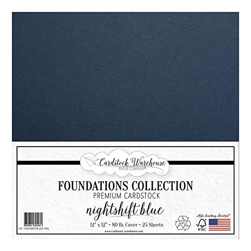 Nightshift Blue/Dark Blue Cardstock Paper - 12 x 12 inch Premium 80 LB. Cover from - 25 Sheets from Cardstock Warehouse