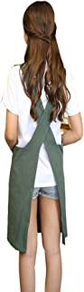 Chef Apron with Front Pockets, Japanese Style Apron, Unisex Bib Kitchen Apron, Soft Cotton Linen Apron, Perfect for DIY Project, Crafting, Cooking, Baking, BBQ (Strap H Style-, Green)