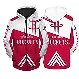 JUQI 2021 New Season Houston Rockets Sudadera con capucha roja, impresión de manga larga, edición conmemorativa, sudadera deportiva transpirable y cómoda (S-5XL) XXXXXL