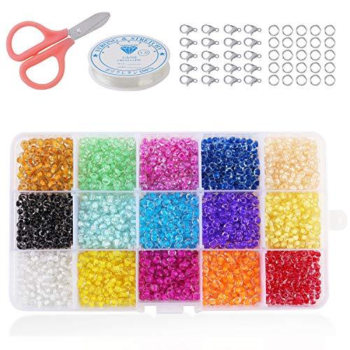 PHOGARY 9000pcs Perles de rocaille en Verre, Petites Perles de Poney Rondes 3mm pour la Fabrication de Bijoux (15 Couleurs)