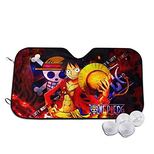 JooKrrix Novelty Car Sunshade, Anime One Piece Monkey D Luffy Blocks Uv Rays Sun Windshield Sunshade, Fashion Keep Cool Heatshield Front Windshield Sun Shade for Auto Truck SUV 51.2X27.5 Inch