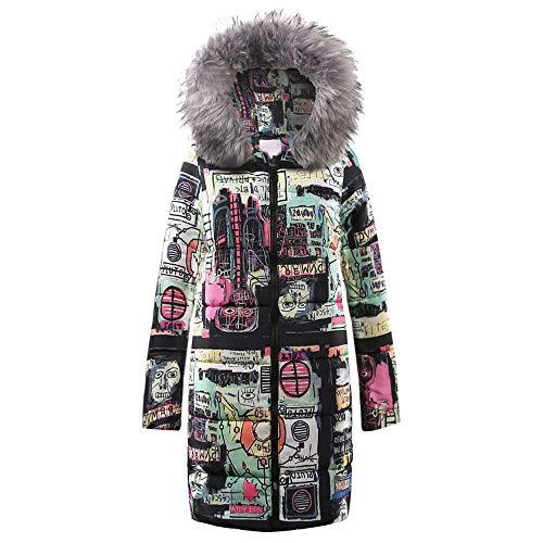 showsing-vrouwen kleding Womens Winter Warm Lange Down Katoen Jas Dames Lange Mouw Art Gedrukt Rits Hooded Parka Gewatteerde Jas Outwear UK Szie 12-22
