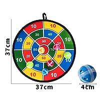 ZUOMA子供玩具 プラスチックおもちゃ ダーツ皿 スティッキーボール 赤ちゃんスティッキーターゲットボール ダーツセット ダーツお玩具 安全キャンバス背景 投球スポーツ 吸盤ゲーム  (カラフル, 直径37CM)