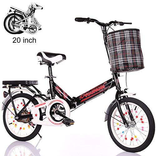 Bicicleta Plegable De 20 Pulgadas Bicicleta De Acero Niño Niña Confort Bicicletas BMX Ultraligeras Portátiles Mujeres Adultas Trabajo Compras Foldcity Bicicletas Almacenamiento Del Malet(Color:negro)