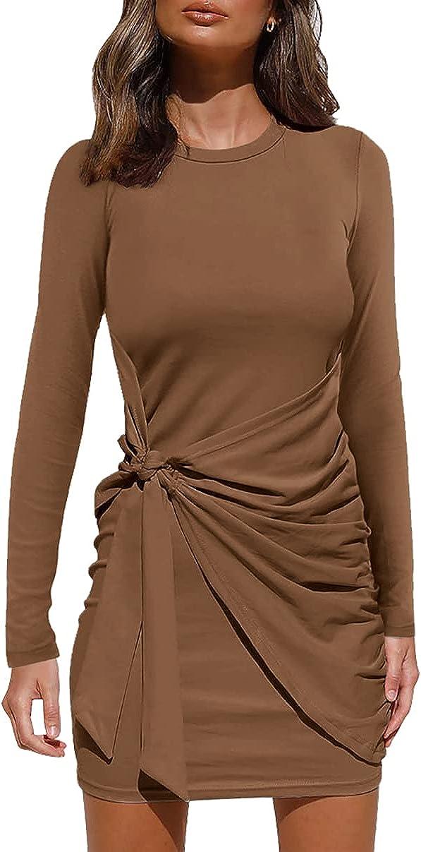 AMABMB Women's Summer Dress Casual Sleeveless Tank Dress Crewneck Ruched Tie Waist Mini Dresses