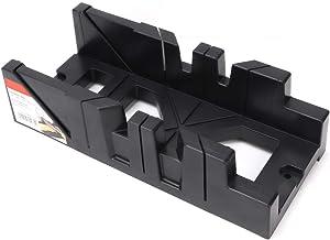 Caja de sierra ingletadora adecuada, barra de corte fácil de biselar inclinada sierra de ingletadora Abs (negro).