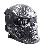 Sensong Airsoft Maske mit Metallgitter Augenschutz Halloween Skull Schutzmaske Taktische Full Face...