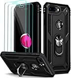 ivoler Funda para iPhone 8 Plus/iPhone 7 Plus/iPhone 6s Plus/iPhone 6 Plus + [Cristal Vidrio Templado Protector de Pantalla *3], Anti-Choque Carcasa Silicona Caso con Anillo iman Soporte, Negro