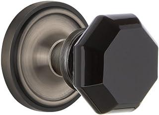 Nostalgic Warehouse 723125 Classic Rosette Double Dummy Waldorf Black Door Knob in Antique Pewter