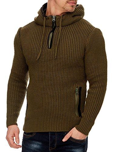 Tazzio Herren Styler Pullover mit Kapuze 16492 Khaki S
