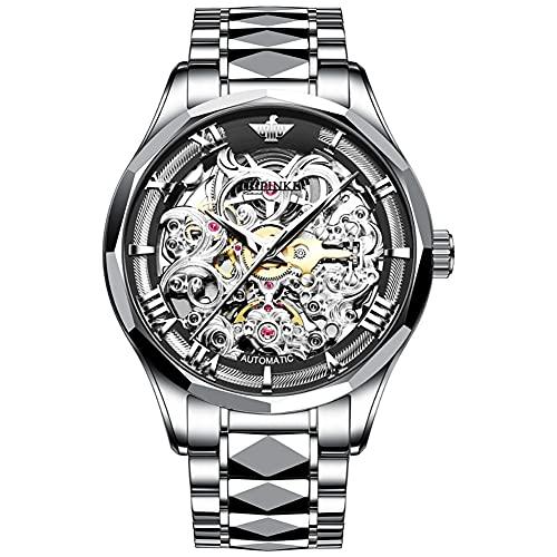 OLEVS Orologio da uomo meccanico in acciaio inox con scheletro Steampunk Design automatico a carica automatica orologio casual da uomo d'affari