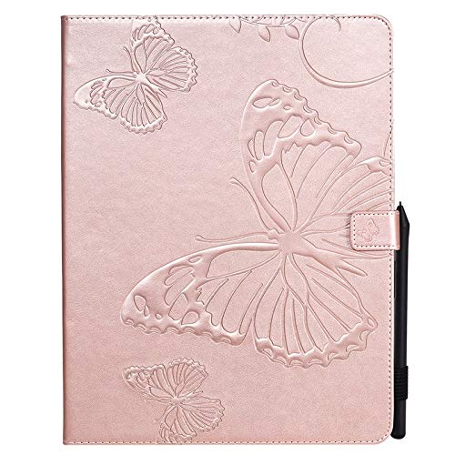 JDDRCASE Tablet case, Butterfly Flower Floral Pattern PU Leather Wallet Stand Tablet Case for iPad Pro 11 inch 2018/2020 (Color : Rose Gold)