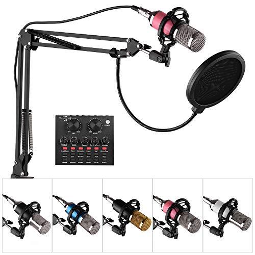 Fesjoy Studiomikrofon mit SoundkarteProfessionelles Broadcasting Studio Recording-Kondensatormikrofon-Kit mit externer...