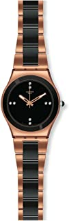 Swatch YLG123G Rose Pearl Black dial Two-Tone Metal Bracelet Women Watch New