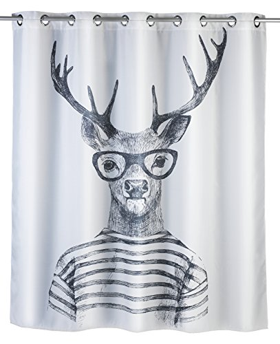WENKO Anti-Schimmel Duschvorhang Mr. Deer Flex, Anti-Bakteriell, wasserabweisend, waschbar, schimmelresistent mit integrierter Hängeeinrichtung, 200 x 180 cm, weiß