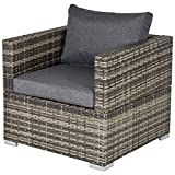 Outsunny Outdoor Patio Furniture <span class='highlight'>Single</span> <span class='highlight'>Rattan</span> Sofa Chair Padded Cushion All Weather for <span class='highlight'>Garden</span> Poolside Balcony Deep Grey