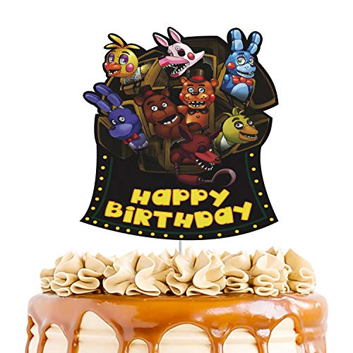 Five nights at Freddy's Cake Topper,Happy Birthday Cake Topper, Video Game Party Decorations, FNAF Theme Boys Bday Party Favors (Cake Topper)