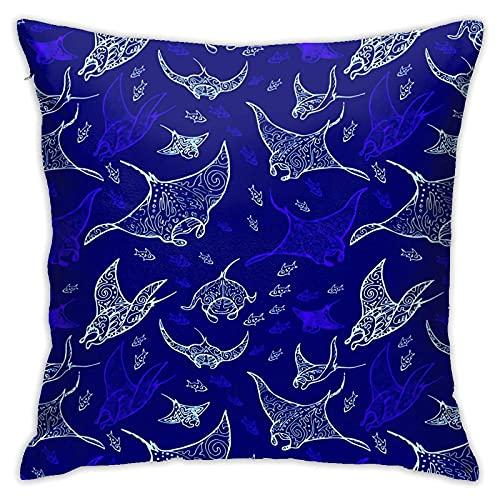 DONGSHAN Manta Ray dekorative Überwurfkissenbezüge Weiche Outdoor-Kissenbezüge 18 x 18 für Sofa Couch Bed Chair