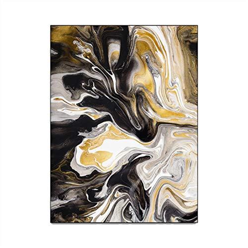 artkingdom Alfombra Alfombrillas Sala de Estar Dormitorio en casa decoración Antideslizante de Oro Blanco y Negro Abstracto para el tamaño del Dormitorio 80 * 160 cm