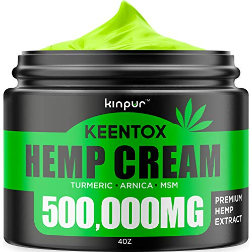Hemp Pain Relief Cream - 500,000MG - Relieves Muscle, Joint Pain, Lower Back Pain, Knees, and Fingers - Inflammation - Hemp Extract Remedy - Hemp Oil with MSM - EMU Oil - Arnica - Turmeric Made in USA