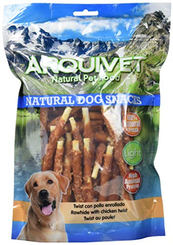 Arquivet Twist con pollo enrollado - Snacks Naturales para perros - Chuches para perros - Golosinas para perro - Premios para tu mascota - 13 cm - 1 kg ⭐