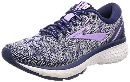 Brooks Womens Ghost 11 Running Shoe - Navy/Grey/Purple Rose - B - 9.0